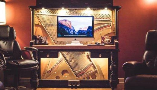 1907年のアップライトピアノが豪華な机に大変身!