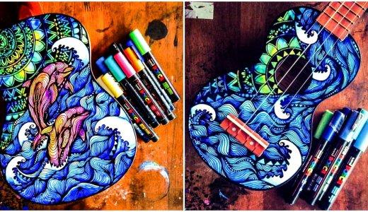 ポスカで描く!楽器をキャンバスにしたアートが美しいと話題に